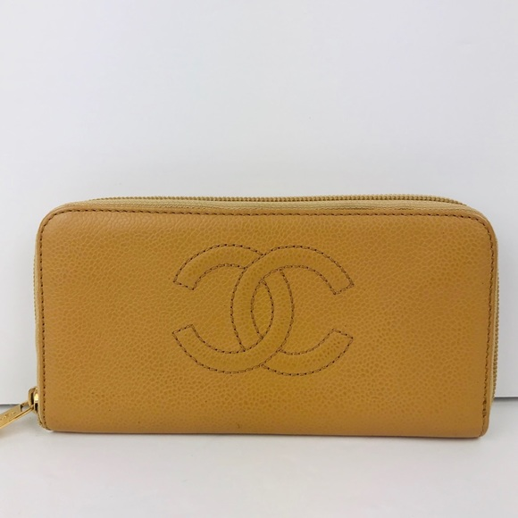 CHANEL Handbags - Authentic Chanel Caviar Beige Long Zippy Wallet